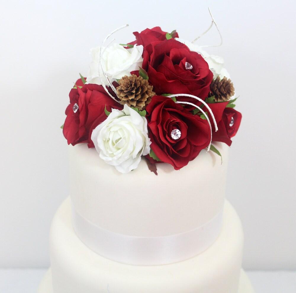 Winter Inspired Wedding Cake Topper Red White Rose Silk Flower