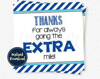 Thanks for going the EXTRA mile Tag, Teacher Appreciation Gift Tags, Gum Thank You Tag, Printable INSTANT DOWNLOAD