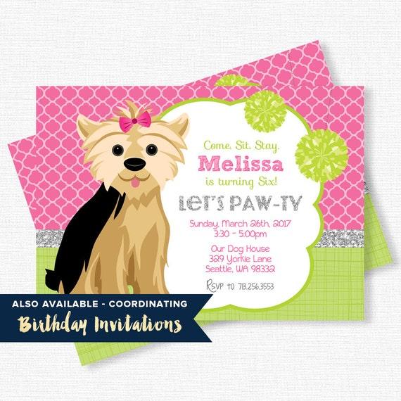 Puppy Party Printables Yorkie Birthday Dog Birthday