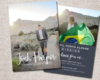 LDS Missionary, Missionary farewell invitation, Elder, Printable (Called to Serve Missionary farewell invitation 2 sided (Vertical)