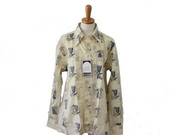 50% half off sale // Vintage 70s Novelty Print Flapper Dancing Disco Shirt // Men XL // nwt, deadstock JP2 Bardon