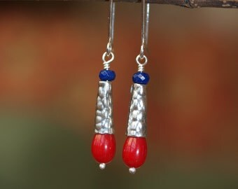 Sterling Silver Coral and Lapis Earrings