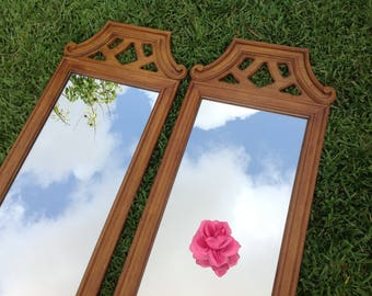 "PAIR of PAGODA STYLE MIRRORs / You get Both Mirrors / Chinoiserie Mirror Hollywood Regency 51"" Tall Palm Beach Chic On Sale Retro Daisy Girl"