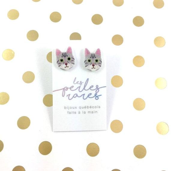 gray cat, catlover, earrings, catlover, plastic, stainless stud, handmade, les perles rares