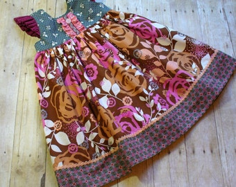 Girls Dress,Toddler Dress,Girls Holiday Dress,Girls Easter Dress,Girls Clothing,Little Girl Dress,Brown,Sizes 12MO,18MO,2T,3T,4T,5T,6,7,8