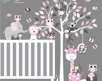 Vinyl Wall Decal  Vinyl Wall Decal Stickers Tree Branch Set with Owls Birds Boy Girl Nursery