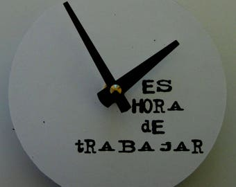 Small wall clock. Clock for Hispanics. Clock with a message.  Vinyl clock. CD clock.