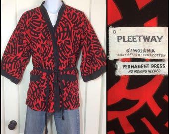 1950s red black bold print Kanji patterned Asian Smoking Jacket short Summer Beach Robe kimono size D by Pleetway Kimojama Sanforized cotton