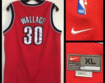 1990's Nike TrailBlazers Rasheed Wallace number 30 NBA Basketball team red black Champion Jersey Tank size boy's XL 20x26 sewn on patches