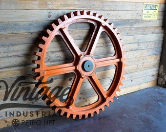 "Vintage Industrial Gear Mold / Large 54"" Wooden Antique Foundry Machine Age Gear"