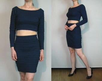 Indigo Cotton Ribbed Knit 2 Piece Set / Knit Skirt Set / Knit Mini Skirt + Cropped Top