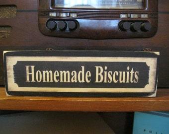Homemade Biscuits Primitive Rustic Wooden Sign Block Shelf Sitter