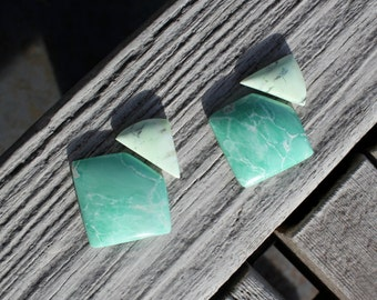 Lemon chrysoprase and variscite earrings and or pendant cabochon sets - U- Pick