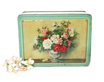 Vintage Candy Box / Hinged Tin Container in Mint Green and Gold with a Bouquet of Flowers / Milary by Waller and Hartley / Blackpool England