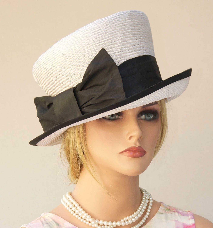 Wedding Hat, Church Hat, Black & White Hat. Derby Hat