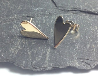 Solid gold heart stud earrings, love tokens valentines gift