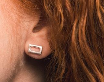 FRAME - Handmade Stud Earrings in Brass, Sterling Silver or 14k Gold