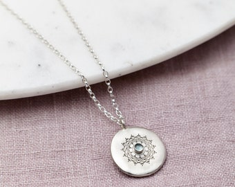 Personalised Handmade Silver Aquamarine Necklace, Gemstone Necklace, Gift for Her, Birthstone Necklace, March Birthstone,Birthday Necklace