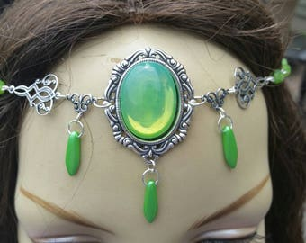 Green Opal Circlet of the Spring Priestess druid celtic elven renaissance cosplay bridal