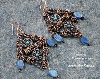 Ethnic Earrings Wire Wrapped in Copper With Iolite And Turquoise.