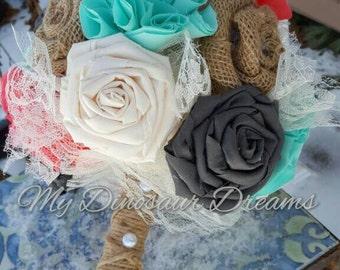 Shabby Chic Bouquet, Rustic Bride, Burlap Bouquet, Fabric Flower, Flower Bouquet, Fabric Bouquet, Bridesmaid Flowers, Bride Bouquet