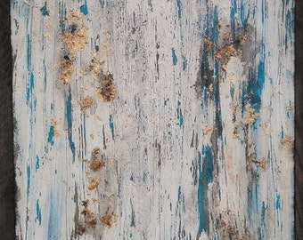 Turquoise White Gold Leaf Texture Abstract Painting Rustic Patina Boho Canvas Wall Art