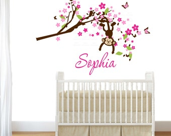 Cute Girl  MONKEY large 28 H x 51 W inches- Personalized Initial Name Vinyl Wall Decal perfect decoration for nursery or playroom