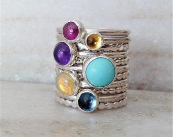 Sterling Silver Stacking Custom Birthstone rings. December birthstone. Gifts for Sagittarius. Turquoise ring. Metalwork. Gift. Mom. Wife