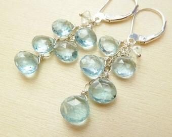 CLEARANCE Blue Aquamarine earrings. Sterling silver. Cluster earrings. Dangle earrings. Aquamarine. Clear Aquamarine. March birthstone. Read