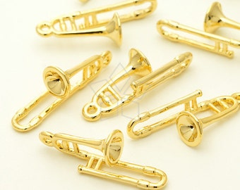 PD-1659-GD / 2 Pcs - Trombone Charm, Horn Pendant, Miniature Trumpet, Silver Plated over Brass / 8mm x 22mm