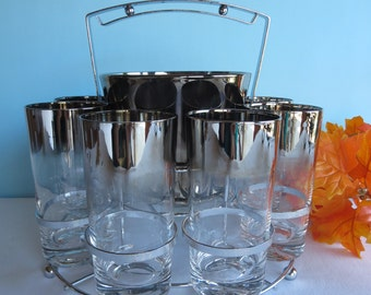 Vintage Silver Ombre Glasses Tumblers - Ombre Ice Bucket - Carrier - Queen's Lusterware