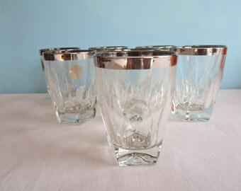 Vintage Platinum Rimmed Crystal Glassware - Hazelware Gothic Glassware - Set of 4 LARGE Glasses
