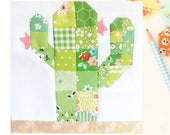 Scrappy Desert Cactus PDF quilt block pattern - Includes instructions for 6 inch and 12 inch Finished Blocks