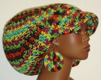 Confetti Camouflage Large Brimmed Cap Hat with Drawstring and Earrings Dreadlocks by Razonda Lee Razondalee