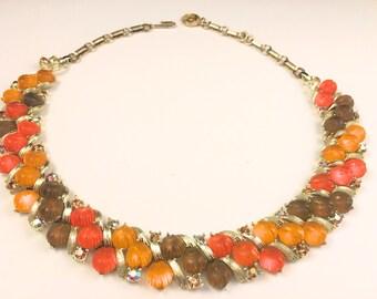 Lisner Lucite Necklace, Vintage Jewelry, Vintage Choker Necklace, Lisner Jewelry, Fall Colors, Lucite Leaves, Rhinestones, Mad Men Style