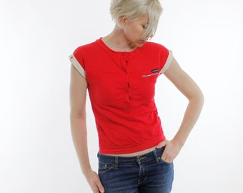 Vintage 80's sleeveless top, bright red, off white accents, zipper pocket, button collar, mesh texture chest panel - Small