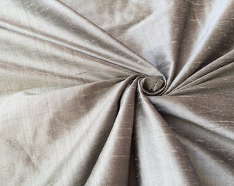 "Silver 100% dupioni silk fabric yardage By the Yard 55"" wide"