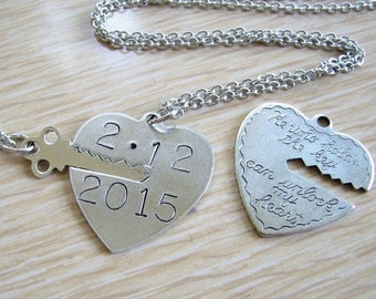 SALE personalized he who holds the key can unlock my heart - custom save the date year necklace - his and hers 2 necklace set / cursive type