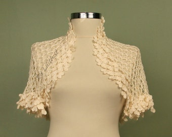Cotton Ivory Shrug, Crochet Bolero, Crochet Shrug, Wedding Shrug, Bridal Shrug Bolero, Cape, Cover Up,  Evening Shrug, Bridal Accessories