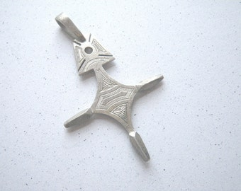 Tuareg Silver Cross Pendant - Finely Detailed