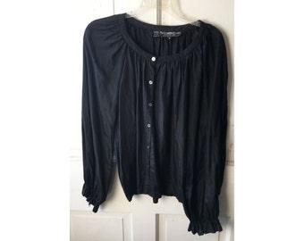 Vintage Black Silk Peasant Blouse 1970s Boho Fashion Shirt Pierre Cardin Chemise