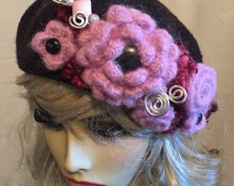 Dark Grey Wool Beret with Felted Pink Flowers Vintage Buttons and a Faux Hat Pin