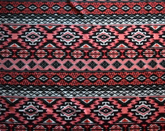 Aztec inspired print ITY knit fabric stretch stretchy By The Yard material textile sewing supplies sew orangeish-red orangered tribal