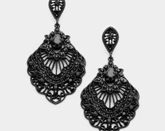 Sale| Black Filigree Dangle Earrings, Post, Filigree Teardrop, Victorian, Art Deco, Hippie, Boho, Retro, Goth, Rocker, Bohemian, Black Metal
