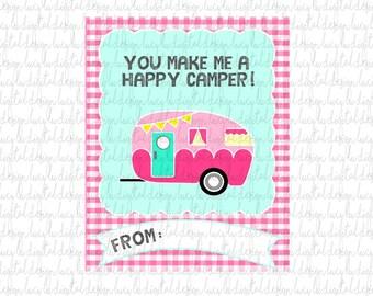 Happy Camper Valentine Cards - Kids Valentine Cards- Valentine Cards- DIY PRINTABLE Valentine Cards