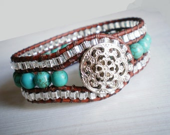 Turquoise Jewelry Cuff Bracelet Leather Cuff Turquoise Beaded Cuff Wrap Bracelet