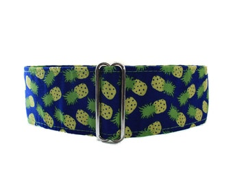 Pineapple Martingale Collar, 1.5 Inch Martingale Collar, Pineapple Dog Collar, Side Release Dog Collar, Greyhound Collar, Summer Dog Collar