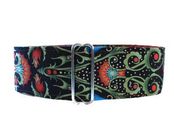 2 inch Martingale Collar, Orange, Teal, Damask, Greyhound Collar, Dog Collar, Wide Dog Collar