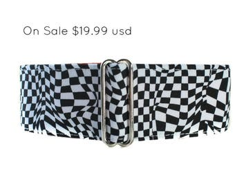 Black and White Martingale Collar, 2 inch Martingale Collar, Black and White Dog Collar, Checkerboard Martingale, Greyhound Collar