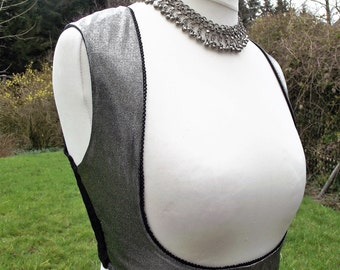 Turkish vest, belly dance top, waistcoat, underbust vest, tribal belly dance top, silver waistcoat